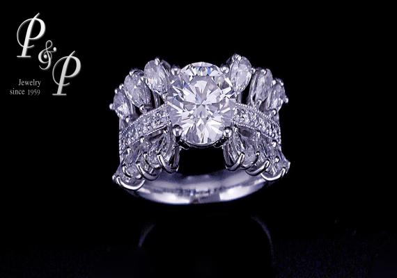 Diamond ring 1.17 carat H color IF 
